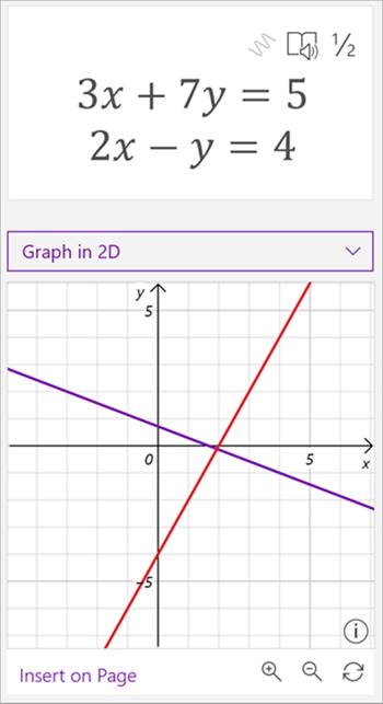 数式 3 x + 7 y が 5 と 2 x - y が 4 に等しい数式を示す数式アシスタントによって生成されたグラフのスクリーンショット。 グラフには、紫色と赤の 2 つの交差する線が表示されます。