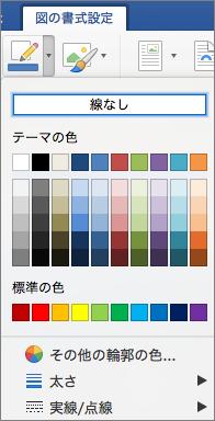 図の輪郭の線の色が示されています。