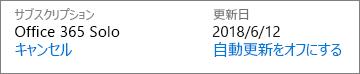 サブスクリプションが自動的に更新される日付。