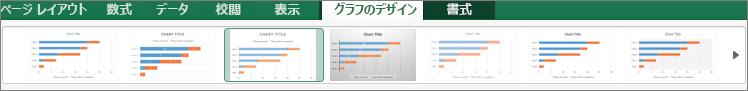 [グラフ デザイン] タブで、グラフの形式を選ぶ