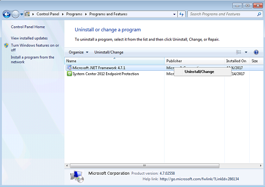 Windows 7 SP1 および Windows Server 2008 R2 SP1 では、.Net Framework 4.7.1 をアンインストールします。