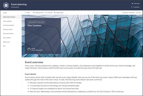イベント計画サイト テンプレートのページ プレビューのスクリーンショット