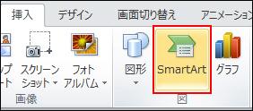 [挿入] タブの [図] で [smartart] をクリックします。