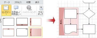 コンテナーをギャラリーから取得して、関連する図形をグループ化します。