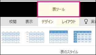 表内をクリックするとリボン上部に表示される [表ツール] コマンドの画像。