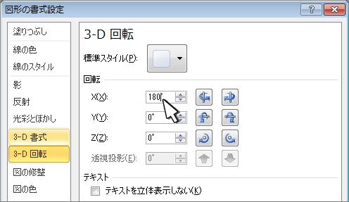 3D X 回転が選択された状態の図形の書式設定ダイアログ