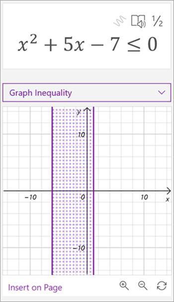数学アシスタントによって生成された、2 乗 x 2 乗 5x のグラフのスクリーンショット - 7 は 0 以下です。 2 本の縦線の間に網掛けされた領域がグラフに表示される