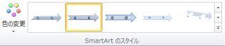 [SmartArt ツール] の [デザイン] タブの [SmartArt のスタイル] グループ
