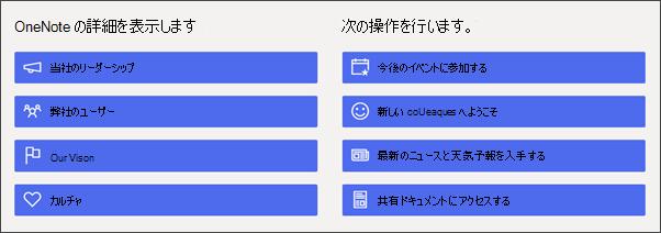 部門サイトのクイック リンク Web パーツの画像