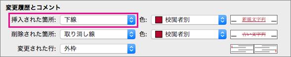 [変更の履歴] ボックスの [変更履歴とコメント] の種類 [挿入された箇所] が強調表示されています。
