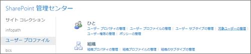ユーザー プロファイル] ページの対象ユーザーの管理リンク