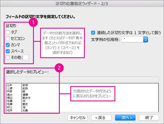 ウィザードの手順 2 の [区切り文字] で、データの分割方法を指定し、[プレビュー] を選択すると、データのプレビューが表示される