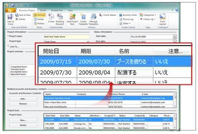 プロジェクト タスクを示すビジネス プロジェクト レコード