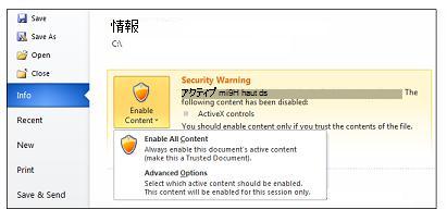 [セキュリティの警告] で信頼できるドキュメントを設定