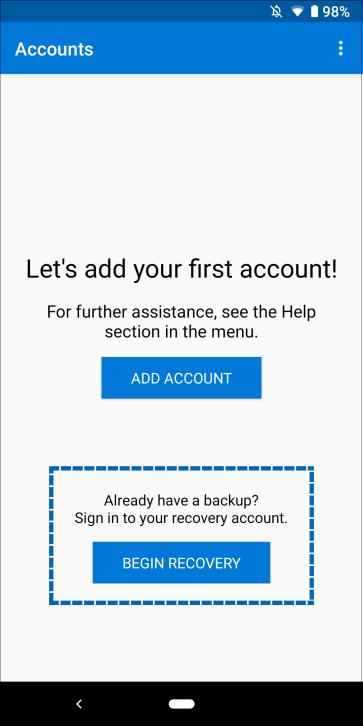 Microsoft Authenticator開始] を選択する場所を示すアプリ