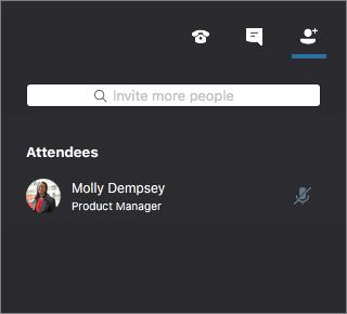 参加者を表示する Skype for Business for Mac 会議ウィンドウ