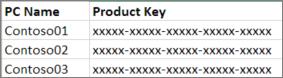 2 列のプロダクト キー リストの例です。