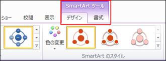 [smartart ツール] が表示され、[デザイン] タブがリボンに追加されます。
