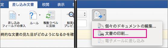 [差し込み文書] タブで [完了と差し込み] と [文書の印刷] が強調表示されています