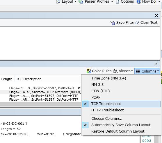 [TCP トラブルシューティング] オプション ([フレーム サマリー] の上部) の [列] ドロップ ダウンの場所。