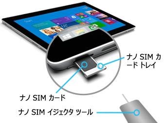 Nano SIM を Surface 3 (4G-LTE) に挿入する