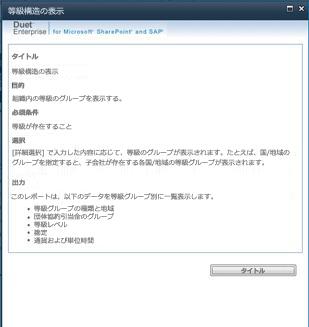 このレポート設定の [説明の表示] をクリックして、レポートの詳細な説明を表示できる。