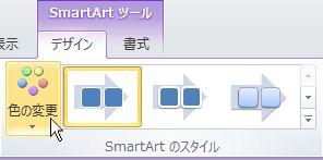 SmartArt グラフィックの色を変更する。
