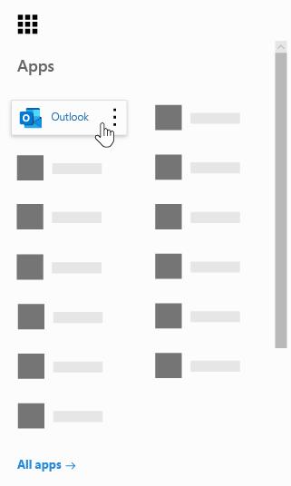 Microsoft 365 アプリ起動ツールで Outlook アプリが強調表示されています。