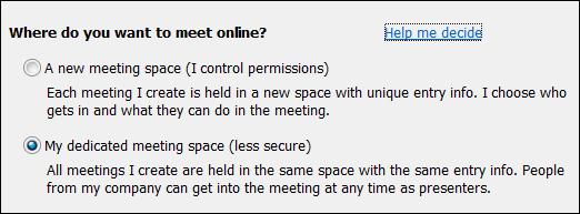 会議の場所に関するオプションのスクリーン ショット