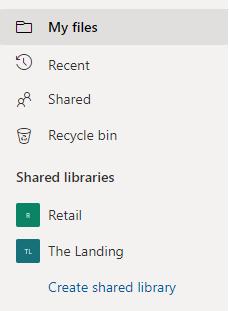 [共有ライブラリ] セクションの [共有ライブラリの作成] リンクを表示します。