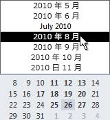 月が選択されているカレンダー ナビゲーター