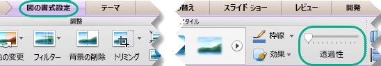 図の透明度スライダーは、スライドで画像を選んだときに [図の書式設定] タブに表示されます。