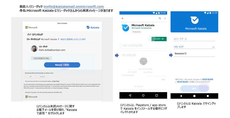 Kaizala を使用していないユーザーの不在着信メッセージの通知の電話 UI の画像。