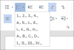 順序付きリストの番号と文字のオプションが表示された、[ホーム] タブの [段落] グループの [段落番号] オプションのスクリーンショット。
