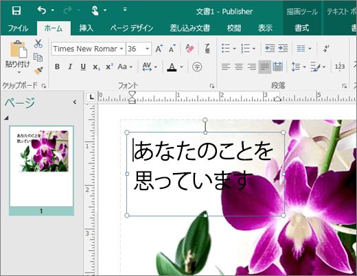 Publisher ファイルのページ上のテキスト ボックスのスクリーンショット