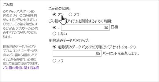 Web アプリケーションの全般設定ページのごみ箱設定セクション