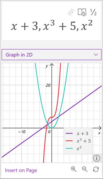 数学アシスタントによって生成された 3 つの数式のグラフのスクリーンショット。x + 3 は紫、x は 3 番目のプラス 5 は赤、x は緑の 2 乗です。