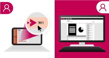 左側にプレゼンテーションを実行中のノート PC を表示し、右側には Microsoft Stream サイトで提供されている同じプレゼンテーションを表示した分割画面