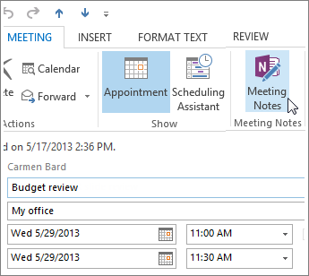 Outlook の会議でノートを取る