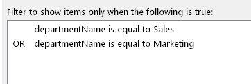 複数の条件が指定された表示フィルターの式