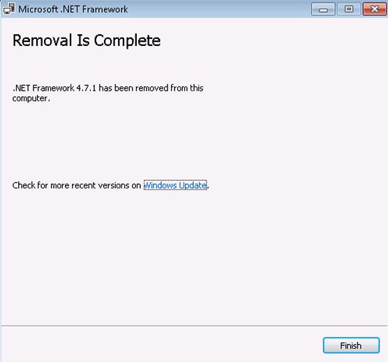 4.7.1 の.NET Framework がこのコンピューターから削除されました