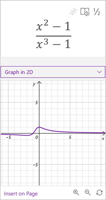 数式 x を 2 乗して生成された数式の数式アシスタントによって生成されたグラフのスクリーンショット - x から 3 番目のマイナス 1 まで 1