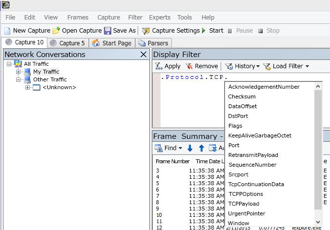 [表示フィルター] フィールドでの IntelliSense の使用を示す Netmon のスクリーンショット。