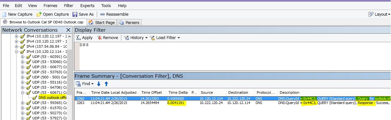 DNS でフィルターされた Outlook Online の読み込みの Netmon トレース結果を [会話を探す]、[DNS] の順に選んで絞り込んだ状態。