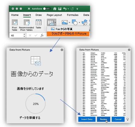 [画像からのデータ] ボタンのスクリーン ショットと、画像分析の進捗状況を示す作業ウィンドウ、および挿入するデータのプレビュー。