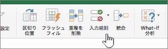 Excel のツール バーの [データ] メニューで選択されているデータ入力規則