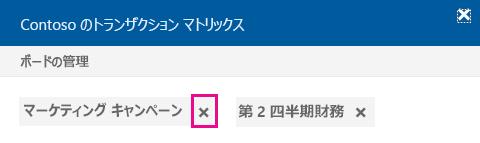 ボードからドキュメントを削除するには、[x] をクリック