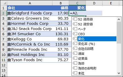 株価用のリンクされたデータの種類