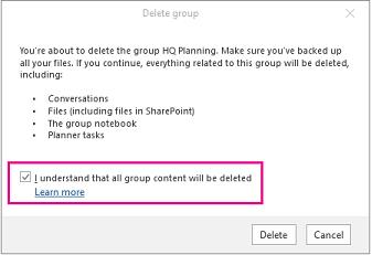 [グループを完全に削除します] ボックスをオンにしたグループ削除確認ダイアログ