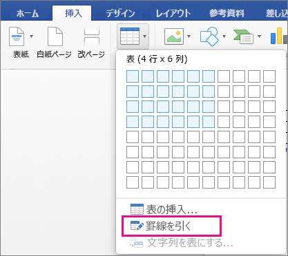 ユーザー設定の表を作成するための [罫線を引く] が強調表示されている